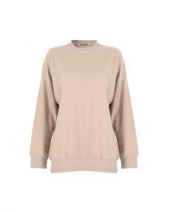 Basic&me - Açık Krem Düz Sweatshirt