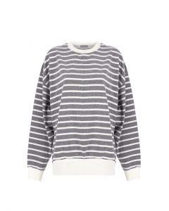 Basic&me - Gri Beyaz Çember Sweatshirt