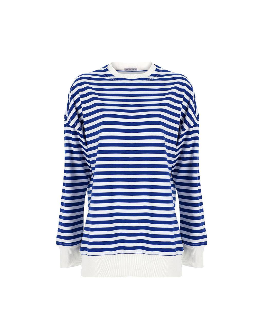 Basic&me - Mavi Beyaz Çember Sweatshirt